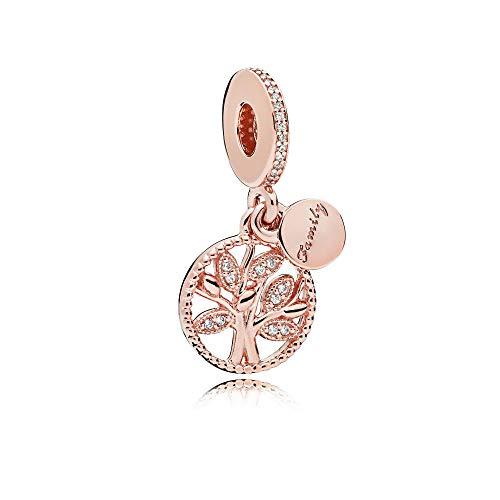 MiniJewelry - Colgante de árbol genealógico para pulseras, árbol de la vida de la familia, plata de ley para mujeres, hijas, hermanas, familia