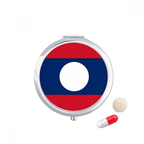 DIYthinker Laos Nationale Vlag Azië Land Reizen Pocket Pill case Medicine Drug Opbergdoos Dispenser Spiegel Gift