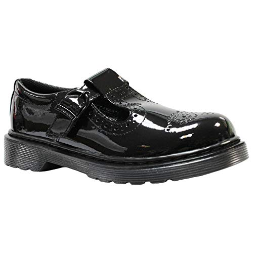 Dr. Martens Kid's Collection Polley Brogue Mary Jane (Little Kid/Big Kid) Black Patent Lamper 3 UK (US 4 Big Kid)