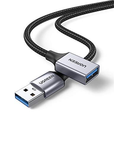 UGREEN Cable Alargador USB 3.0 Cable Extension USB Tipo A Macho a Hembra Extensor 5 Gbps para Ordernador, Disco Duro Externo, Impresora, Ratón, Teclado, Hub, Pendrive, Mando de PS3, VR Gafas,2 Metros