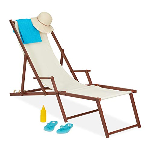 Relaxdays Liegestuhl Holz Stoff, 3 Liegepositionen, Gartenliege mit Armlehnen & Fußablage, 120 kg, Sonnenliege, beige