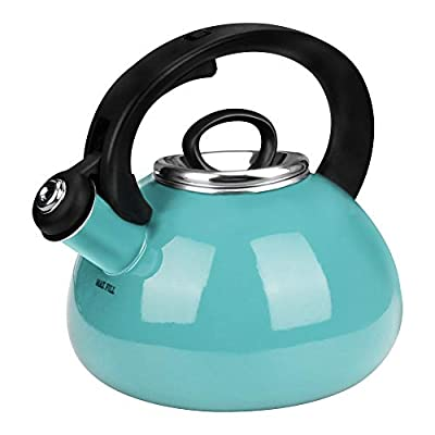 Whistling Tea Kettles, AIDEA 2.3 Quart Ceramic Tea Kettle for Stovetop Induction, Enameled Interior Tea Pot for Anti-Rust, Audible Whistling Hot Water Kettle for Kitchen - Christmas Gift -Turquoise