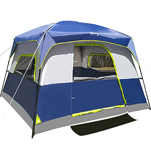 6-Person Tent for Camping Waterproof Windproof Family Easy Setup Cabin Tent with Top Rainfly, Double Layer,4 Large Mesh Windows,2 Mesh Door,Provide 2 pcs Gate Mat Camping Tent-10'X9'X78''(H)