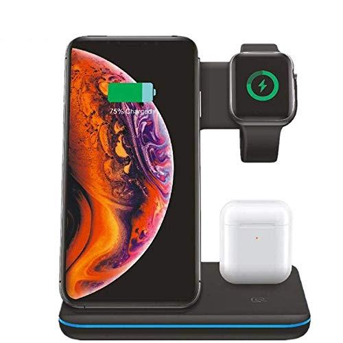 HAEEP Schnelles kabelloses Ladegerät, 3-in-1, Qi kabelloses Ladepad, schnelles 15 W, kompatibel mit iPhone Xs/Xsmax/Xr/8/8, Samsung Galaxy S10/S10/S10e/S9 Apple Watch 1/2/3/4 Airpods 1/2, Schwarz