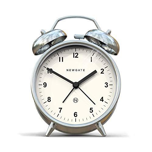 NEWGATE, Reloj silencioso - Moderna Caja de Color Metal con Martillo clásico y Alarma de Doble Campana HWD 14,5 x 9,7 x 5,5 cm (Plata)