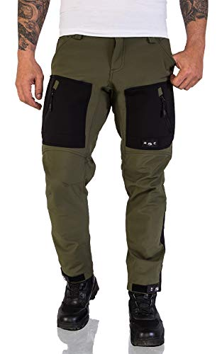 Rock Creek Herren Softshell Hose Cargohose Outdoorhose Wanderhose Herrenhose Wasserdicht Skihose Arbeitshose Winter Hose H-196 Dunkelgrün 3XL