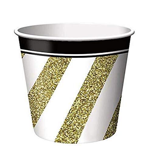 Creative Convertting - beker van papier, 266 ml, zwart en goud, 8C317549