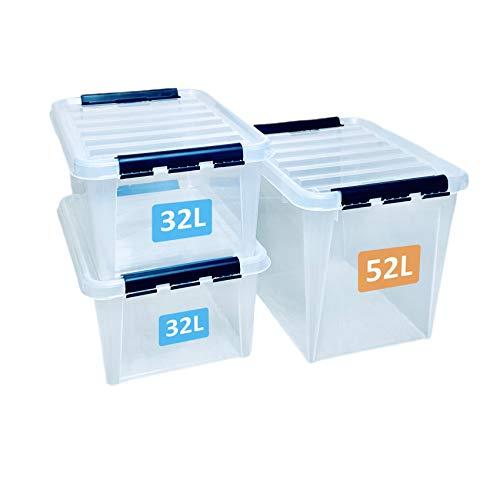 SmartStore Contenitori di plastica rinforzata e trasparenti con coperchio, confezione da 2 scatole da 32L e 1 da 52L, adatte per alimenti, impilabili, senza BPA, garanzia di 10 anni, 50 x 39 x 41 cm
