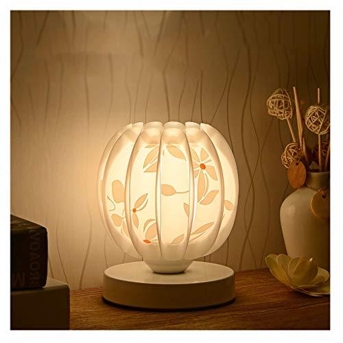 Lámpara de mesa de escritorio de calabaza creativa Lámpara de mesa en la habitación de la habitación de la habitación de los niños Superficie de calabaza con patrón de pétalo Lámpara de mesa de dormit