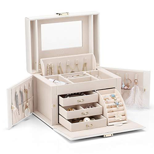 Vlando-Kunstleder-Schmuckkästchen, Aufbewahrungsbox für Schmuck mit hoher Kapazität und 3 Schubladen für Armbänder, Ohrringe, Ringe, Halsketten als Weihnachtsgeschenk, Geburtstagsgeschenk für Hochzeiten (weiß)