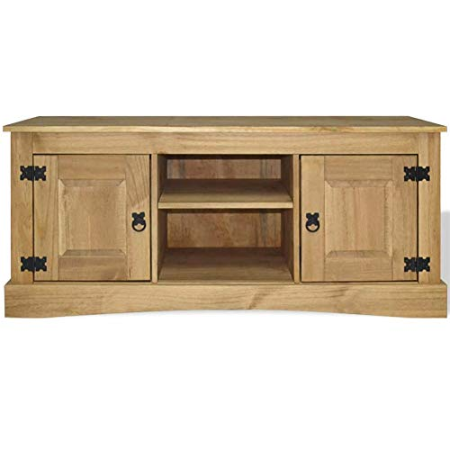 BLUECC TV Stand Mexican Pine Corona Range TV Cabinet Rustic Farmhouse Decor for The Home 47.2'x15.7'x20.5' (L x W x H)