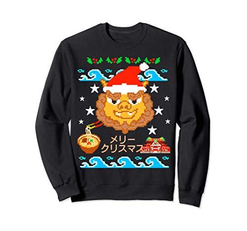 シーサーサンタクロース。メリークリスマス、首里城と沖縄そばもかわいい!アグリーセーターパーティーに着れるお土産 トレーナー