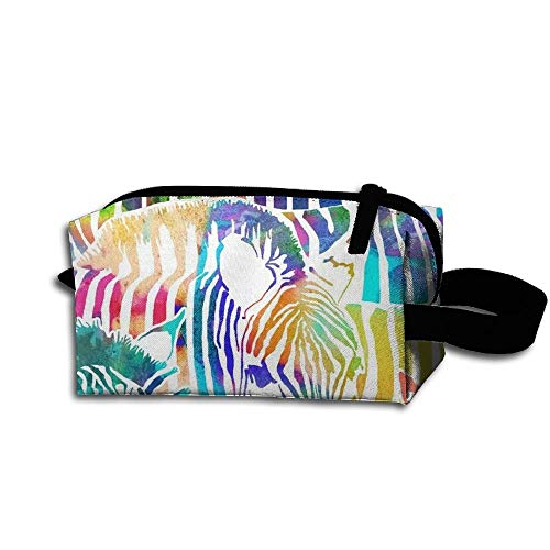 Travel Makeup Zebra Rainbow Beautiful Waterproof Cosmetic Bag Quick Makeup Bag Pencil Case