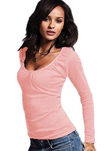 Mega Sexy Bluse Tunika Bluse unterstreicht Büste!! Farbwahl S M L 36 38 40 (161) (Puderrosa)