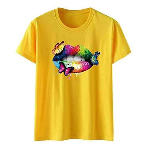 SLYZ Camiseta De Manga Corta De Verano para Mujer, Camiseta con Estampado De Mariposa Y Labios De Color para Mujer, Camiseta Holgada Informal De Algodón De Manga Corta para Mujer