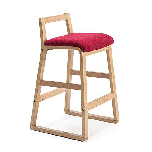 Chaises de bar, tabouret haut en bois massif, tabouret de bar rétro, tabouret de bar, tabouret de bar créatif, tabouret haut (Couleur : Rouge foncé, taille : 48x47x81.5cm)
