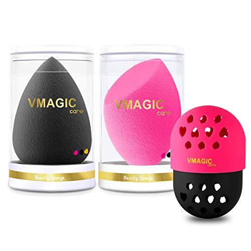VMAGIC Premium Pro Makeup Sponge Beauty Sponge Blender Foundation Sponge Blender for Applicator, Foundation and Highlighter (Black + Rose Red)