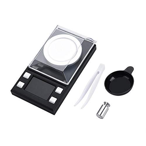 Básculas de bolsillo digitales de miligramos, 0.001g Básculas electrónicas de alta precisión para joyería, recarga de monedas de oro y cocina, con función de tara(10g)