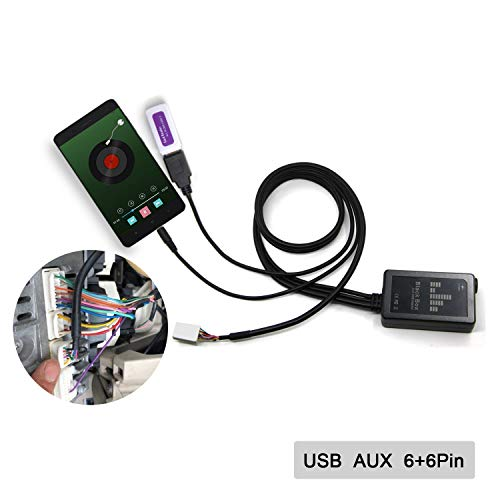 Adaptador auxiliar, USB AUX en adaptador de coche estéreo digital cambiador de CD de 3,5 mm interfaz auxiliar para Toyota 6 + 6 pines...