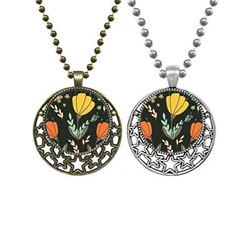 Collar con colgante de flores amarillas y naranjas para amantes de la pintura de la planta de la luna