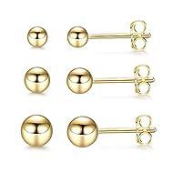 Kämise Silver Stud Earrings for Women, 3 Pairs 925 Sterling Silver Gold Ball Stud Earrings Set, Smal...