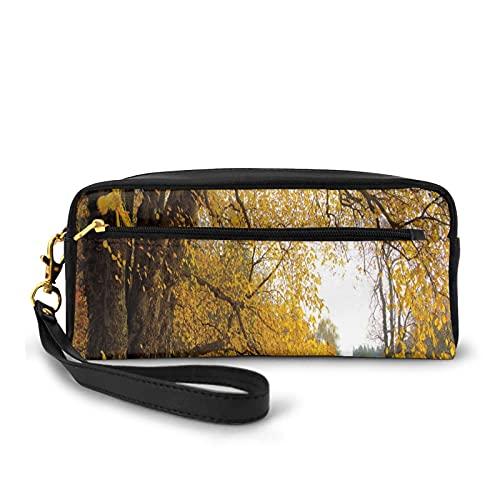 Con bolsa de lápiz con cremallera, parque otoñal con gran árbol de roble antiguo y hojas caducifolias, estuche pequeño maquillaje bolsa