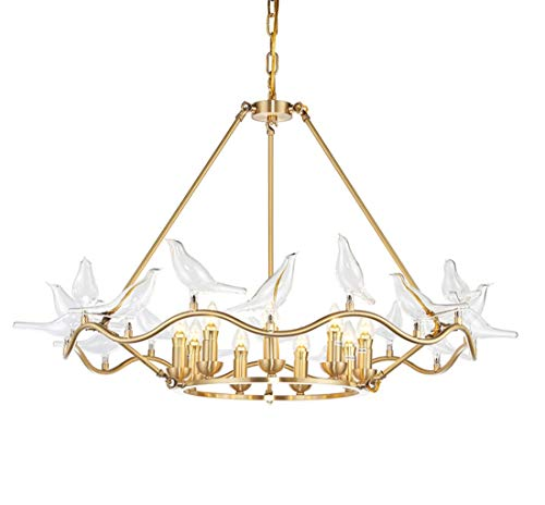 JLA Nórdico Poste-Moderna lámpara de Techo de pájaro de Vidrio Estudio luz de salón Dormitorio, Fuente de luz E14 * 8