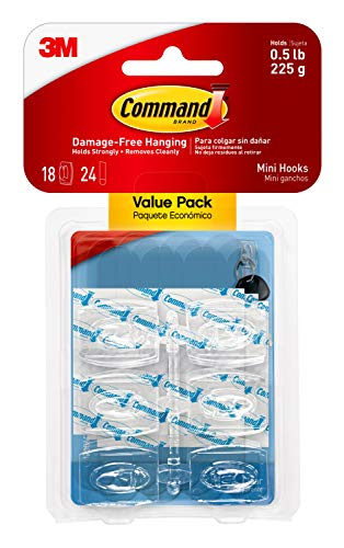 Command Mini Hooks Value Pack, Clear, 18-Hooks (17006CLR-18ES), Organize Damage-Free