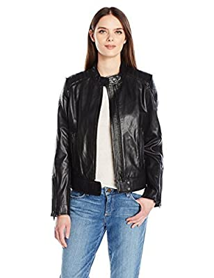 7 For All Mankind Women's Leather Scuba Jacket, Black, L