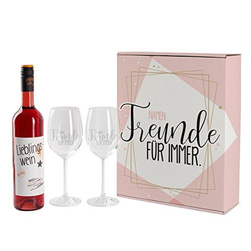 Herz & Heim® Lieblingswein Geschenkset für die beste Freundin mit Namensgravur auf Weingläsern in einzigartigem Geschenkkarton