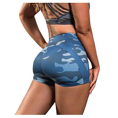 Sexy Shorts de Sport Femme Taille Haute Camouflage Pantalon Court Sport Shorts Ete Remonte Fesse Hot Pants Legging Court Trouser pour Jogging Yoga Fitness Danse Gym Pyjama Bottoms