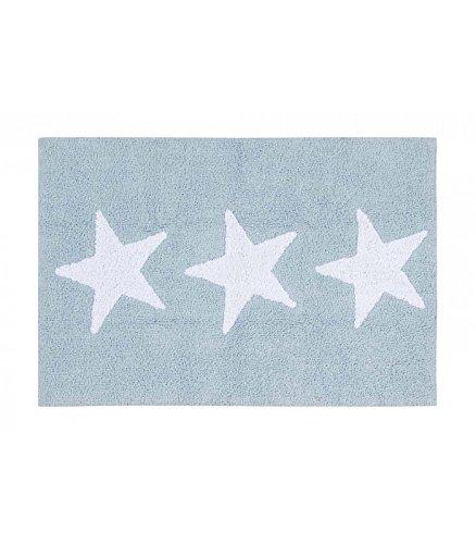 Happy Decor Kids -Alfombra Lavable Three Stars 100% Algodón Natural -Azul- 120x80 cm