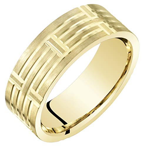 Mens 14K Yellow Gold Wedding Ring Band 7mm Geometric Style Comfort Fit Size 11.5 14k Gents Wedding Band