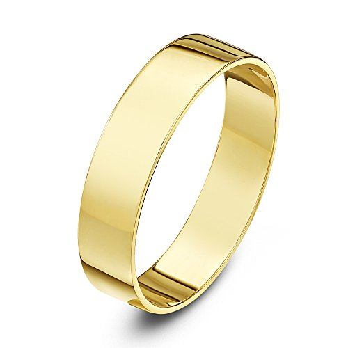 Theia Unisex Heavy Flat Shape Polished 9 ct Yellow Gold 4 mm Wedding Ring - Size R