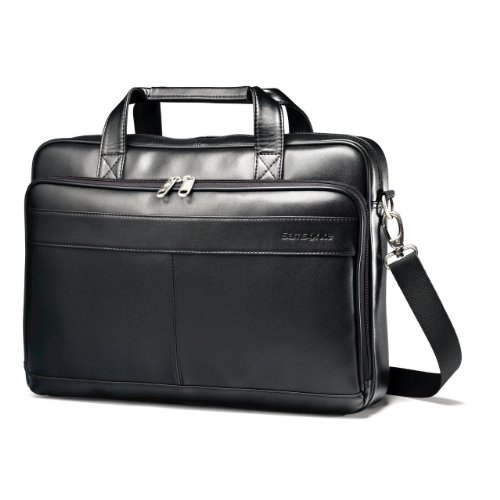 Samsonite Leather Slim Briefcase, Black, 16 Inch