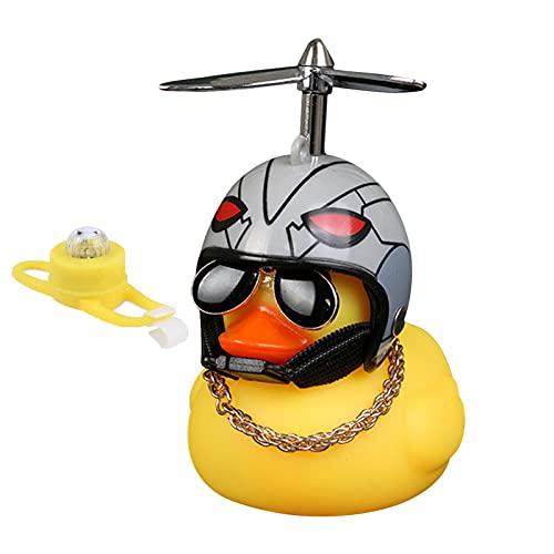Campana de pato para bicicleta con gafas de sol, luz de pato amarillo, campana de seguridad para bicicleta con accesorio multifuncional