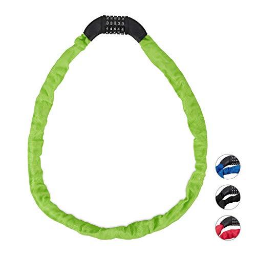 Relaxdays, groen cijferslot fiets, veilig kettingslot met 5-cijferige cijfercode, 120 cm, fietsslot staal