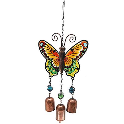 Yuyugo Windspiel, 35,6 cm, Schmetterlingsspiel, tragbare Metall-Windglocken für Haus und Garten, Dekoration gelb