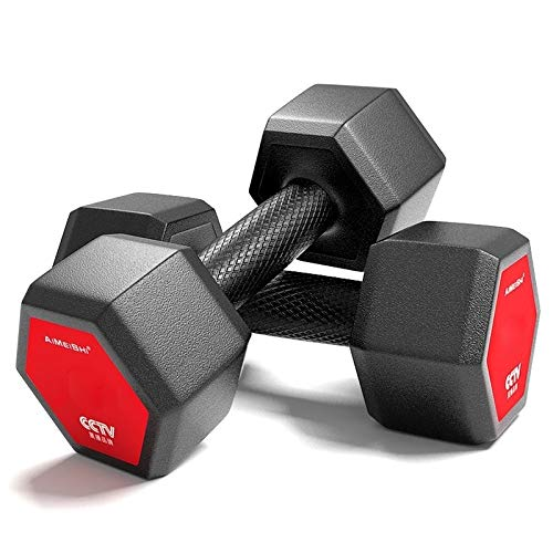 Find Cheap CAOMING 6KG A Pair Red Seal Household Glue Fitness Hexagon Dumbbells Worry-Free Quality