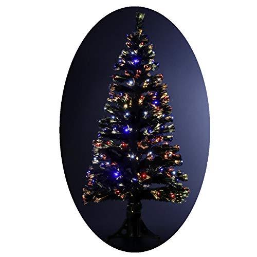 Albero di Natale artificiale luminoso con fibra ottica + 88 lampadine LED – Giochi di luce con scatola di controllo - consegnato col piede – Altezza: 90 cm
