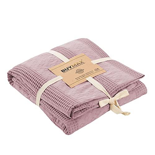 Pique Tagesdecke 220x240 cm Waffeloptik 100prozent Baumwolle Überwurf Sofadecke Baumwolldecke Wohndecke Quilt Pikee Uni Einfarbig, Farbe Altrosa