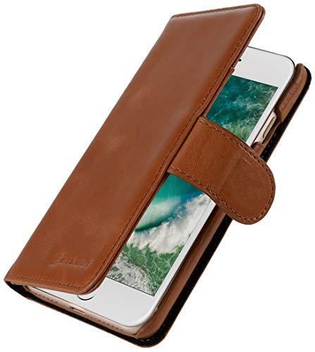 StilGut Lederhülle kompatibel mit iPhone SE 2020/iPhone 8/iPhone 7 mit Karten-Fächern, Cognac