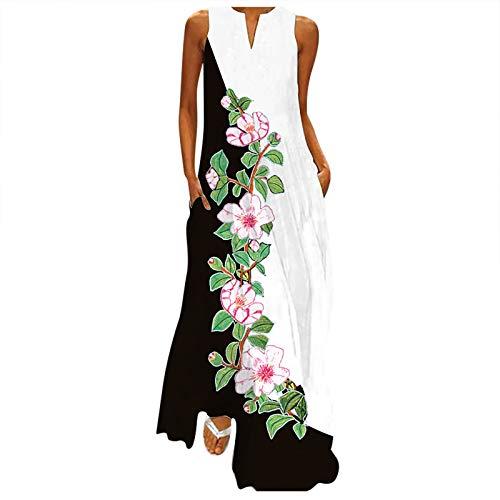 NAQUSHA Vestido largo para mujer, estampado sin mangas, cuello en V, talla grande, dobladillo dividido, holgado, senderismo, ligero, elegante, vestido largo, vestido de verano para mujer