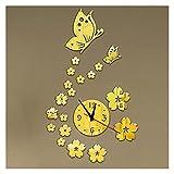 WWWL Reloj de Pared Relojes acrílicos Reloj de Pared Reloj de Pared Diseño Moderno 3D Crystal Mirror Relojes Decoración del hogar Sala de Estar (Color : Gold)