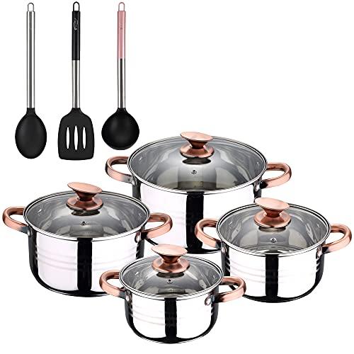 San Ignacio Bateria de cocina 8 piezas apta para induccion, Altea en acero inoxidable con set de 3 utensilios de cocina en nylon, PK3237