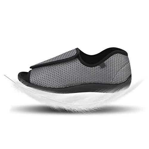 IBLUELOVER - Pantuflas diabéticas para hombres y mujeres, de espuma viscoelástica, zapatillas ajustables, cierre de velcro, sandalias, pies anchos abiertos, zapatillas para ancianos