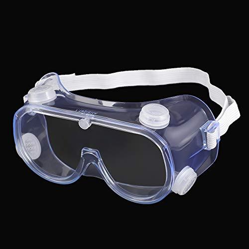 AHOME Occhiali di Sicurezza Ventilati in PC con Trasparente Antiappannamento e Graffio, Lenti Avvolgenti Resistenti, Occhiali di Protezione UV e Schizzi con Fascia Regolabile, Approvati ANSI Z87.1