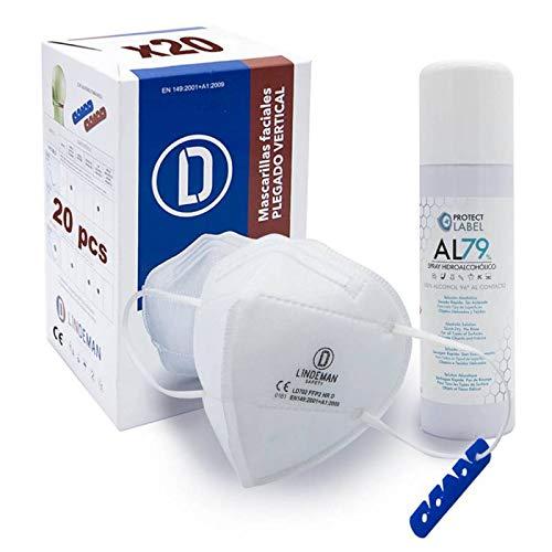 Mascarillas FFP2 Blancas NR CE Certificadas, 5 Capas Protectoras, Plegables, Cómodas Con Clip Nasal y Clip Trasero Salvaorejas, Envasadas Individualmente, Cumple EN 149:2001+A1:2009, Caja 20 Unidades
