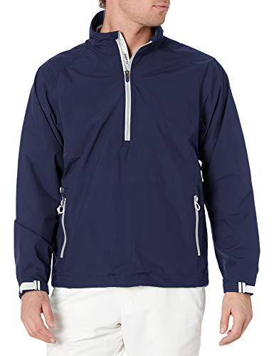 Zero Restriction Men's Power Torque 1/4 Zip Rain Jacket, Navy/Metallic Silver, Large
