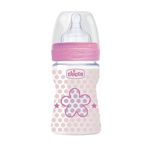 Chicco 00020611100000 Benessere Plastica Bambina Biberon, Silicone, Flusso Regolare, 150 ml, Rosa
